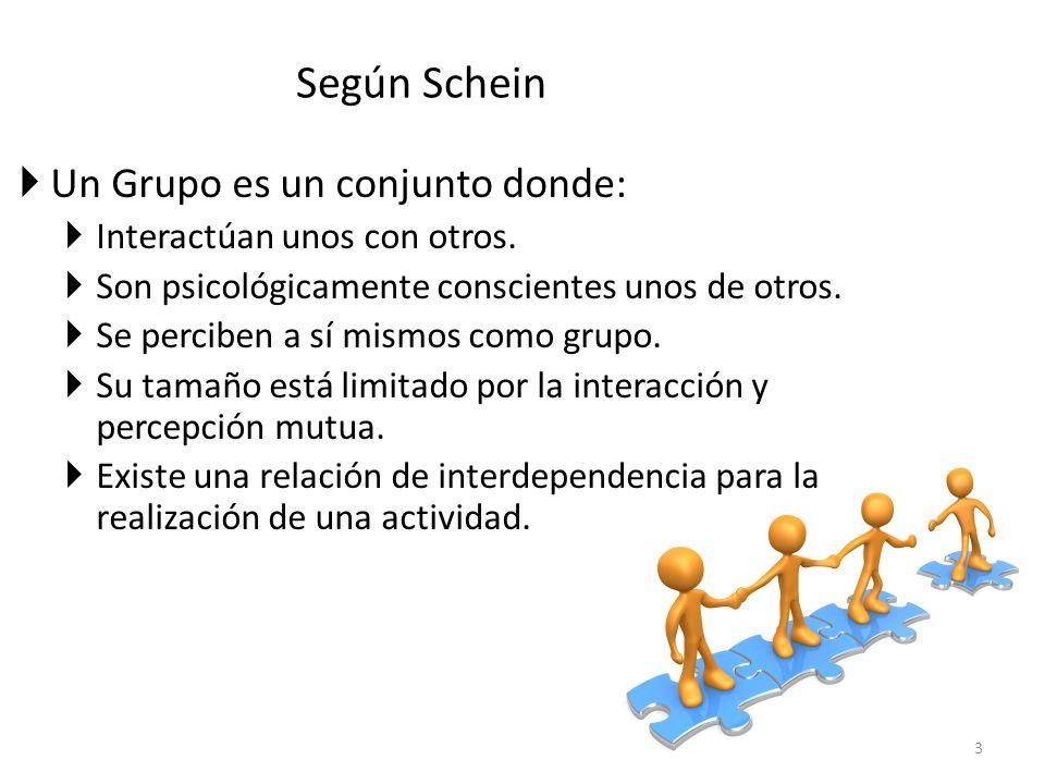Según Schein Un Grupo es un conjunto donde:
