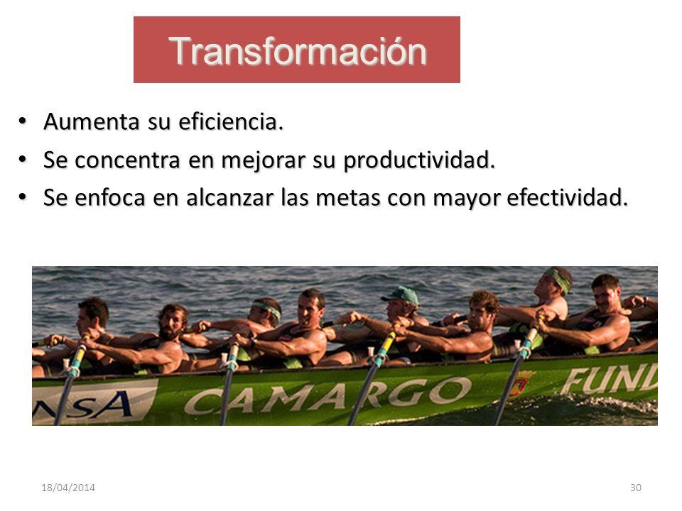 Transformación Aumenta su eficiencia.