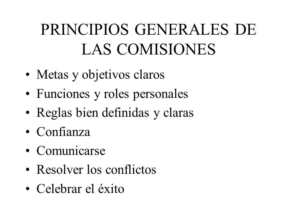 PRINCIPIOS GENERALES DE LAS COMISIONES