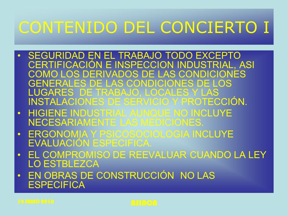 CONTENIDO DEL CONCIERTO I