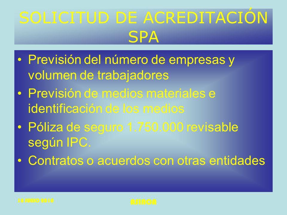 SOLICITUD DE ACREDITACIÓN SPA