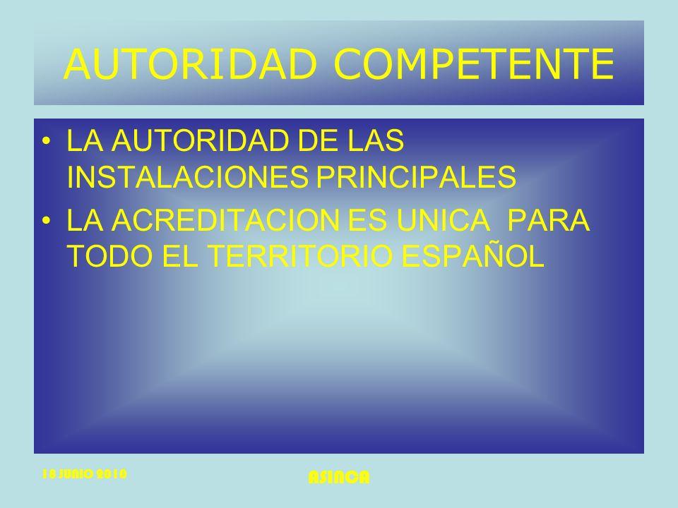 AUTORIDAD COMPETENTE LA AUTORIDAD DE LAS INSTALACIONES PRINCIPALES