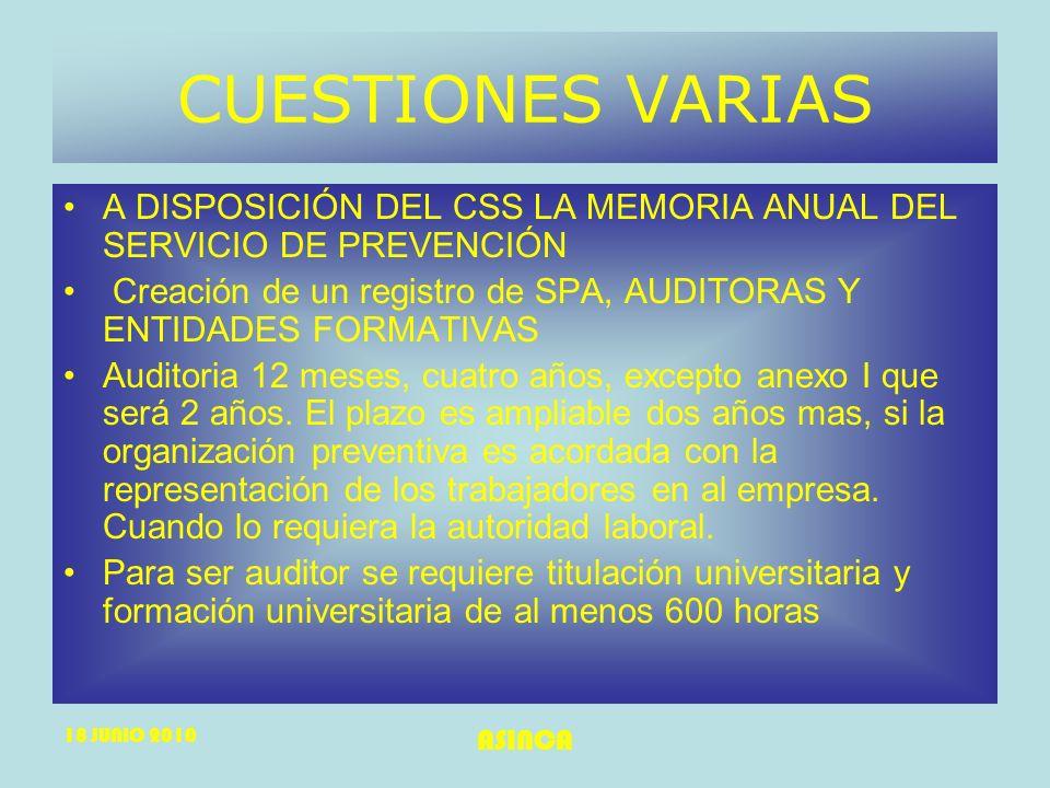 CUESTIONES VARIAS A DISPOSICIÓN DEL CSS LA MEMORIA ANUAL DEL SERVICIO DE PREVENCIÓN.