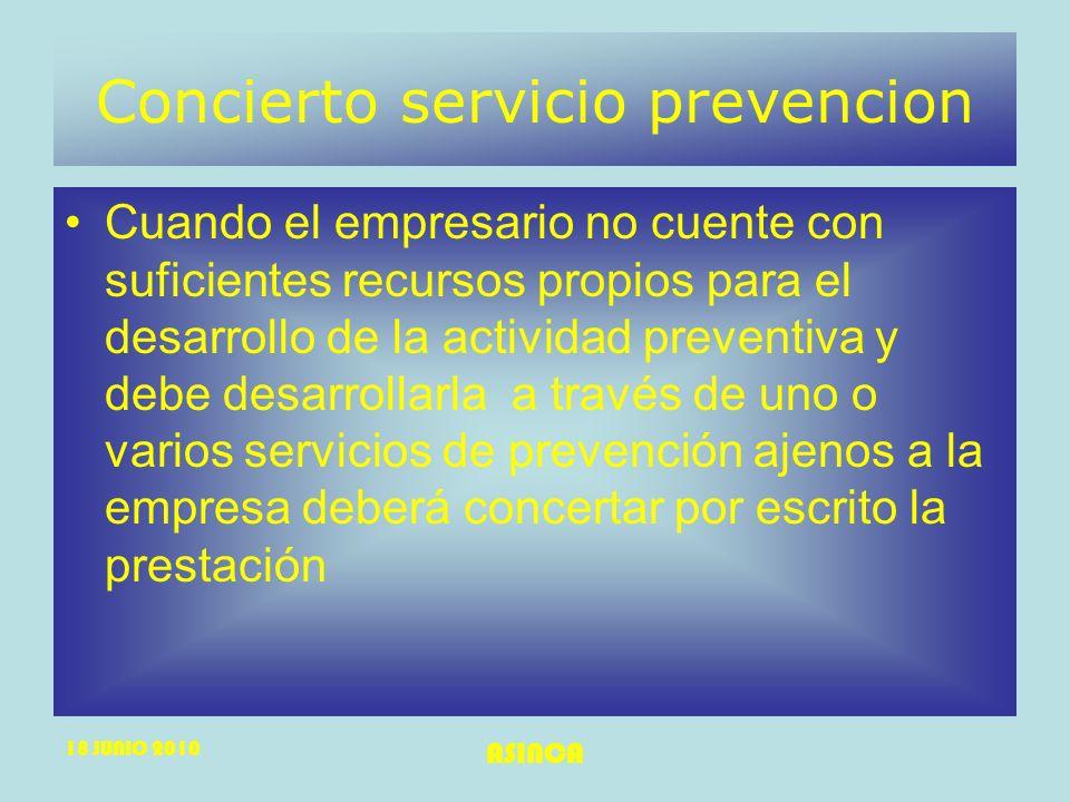 Concierto servicio prevencion