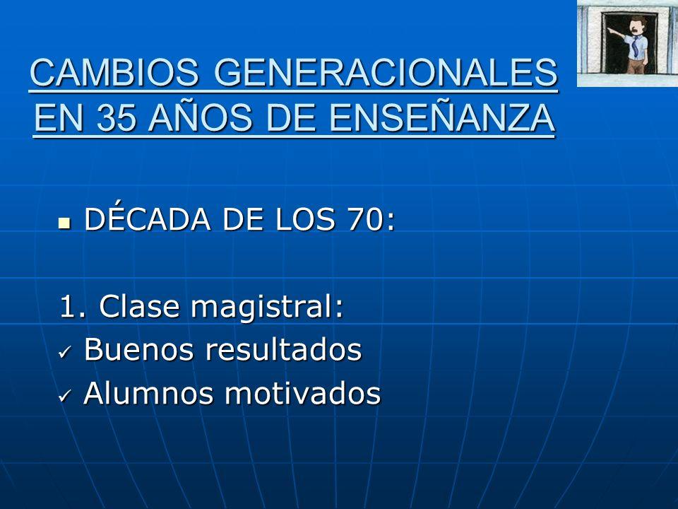 CAMBIOS GENERACIONALES EN 35 AÑOS DE ENSEÑANZA
