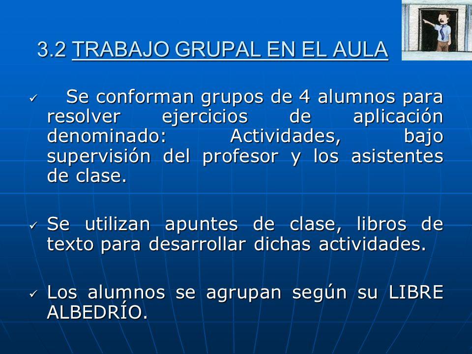 3.2 TRABAJO GRUPAL EN EL AULA