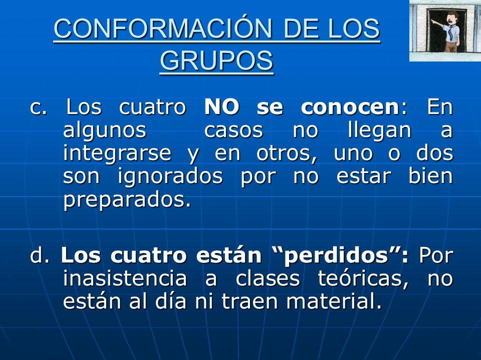 CONFORMACIÓN DE LOS GRUPOS