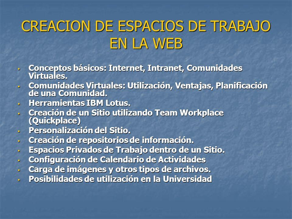 CREACION DE ESPACIOS DE TRABAJO EN LA WEB