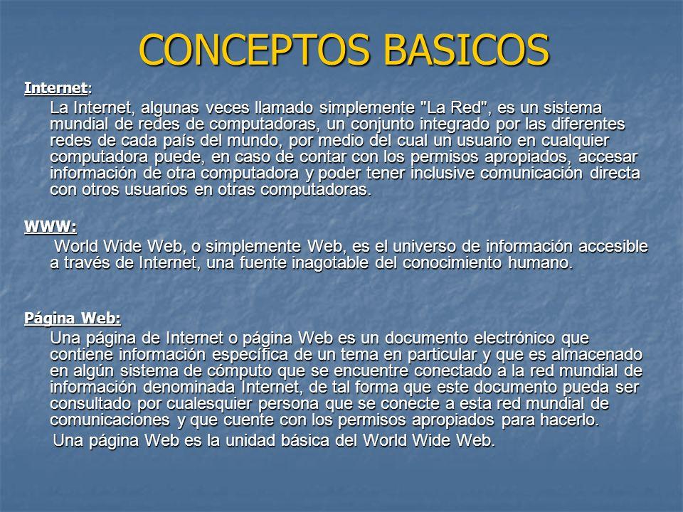 CONCEPTOS BASICOS Internet: