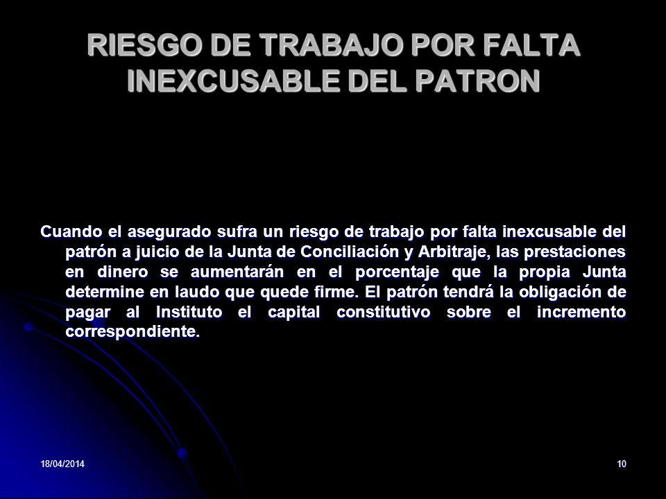 RIESGO DE TRABAJO POR FALTA INEXCUSABLE DEL PATRON
