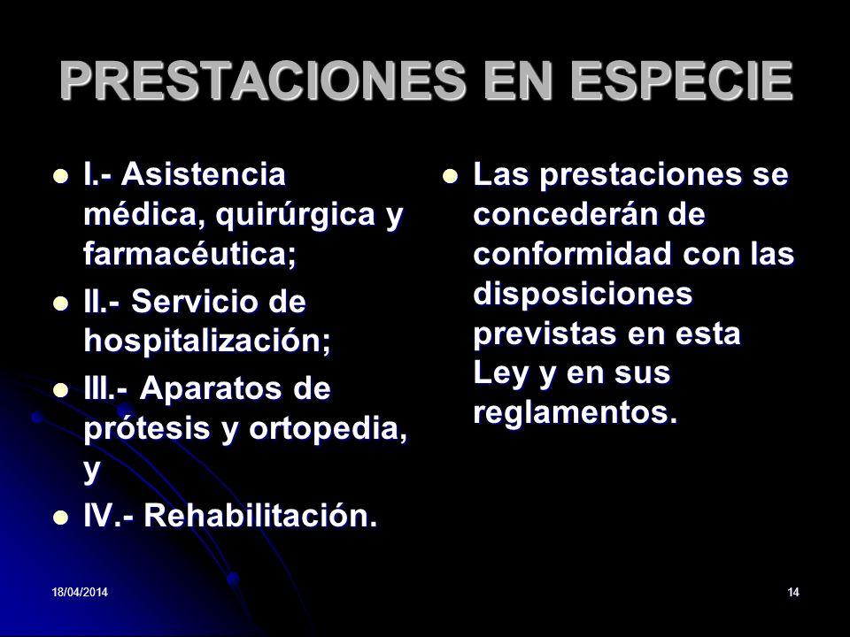 PRESTACIONES EN ESPECIE