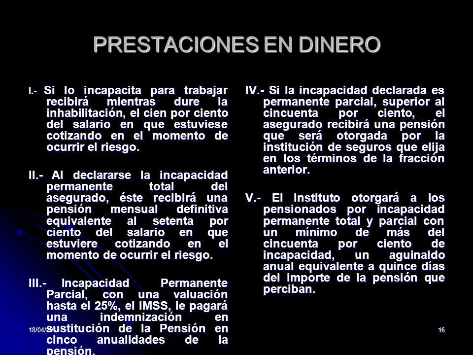 PRESTACIONES EN DINERO