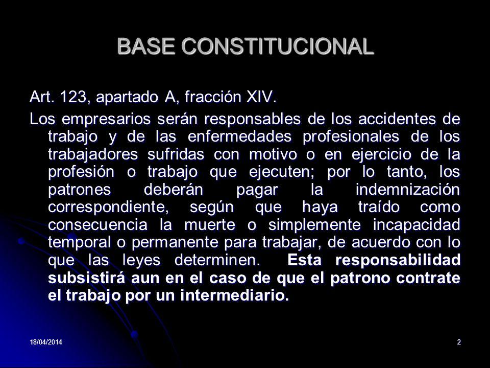 BASE CONSTITUCIONAL Art. 123, apartado A, fracción XIV.