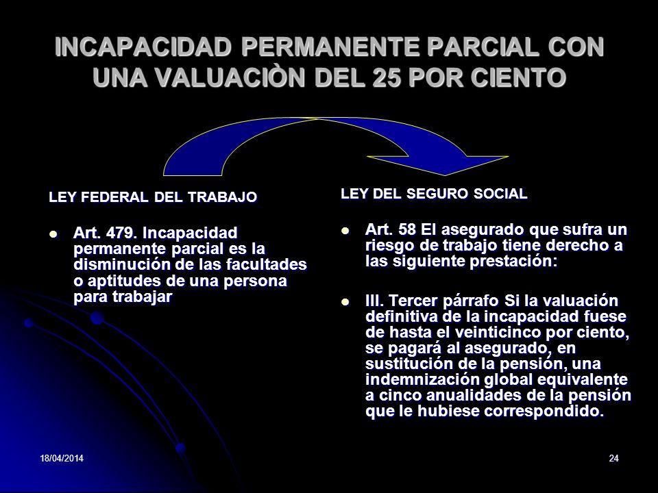 INCAPACIDAD PERMANENTE PARCIAL CON UNA VALUACIÒN DEL 25 POR CIENTO