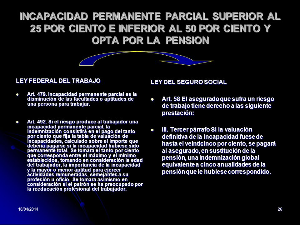 INCAPACIDAD PERMANENTE PARCIAL SUPERIOR AL 25 POR CIENTO E INFERIOR AL 50 POR CIENTO Y OPTA POR LA PENSION