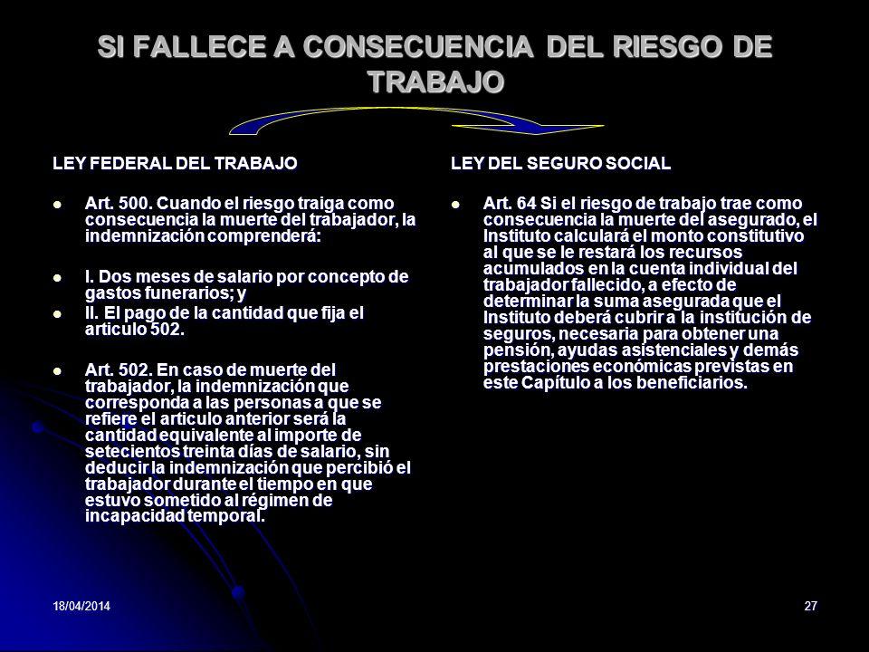 SI FALLECE A CONSECUENCIA DEL RIESGO DE TRABAJO