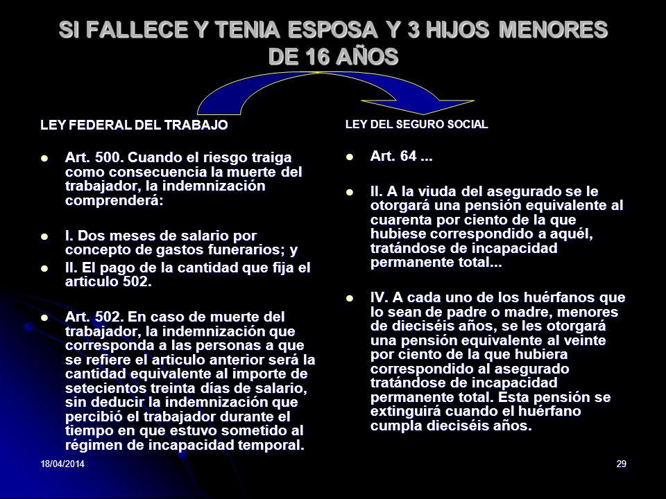 SI FALLECE Y TENIA ESPOSA Y 3 HIJOS MENORES DE 16 AÑOS