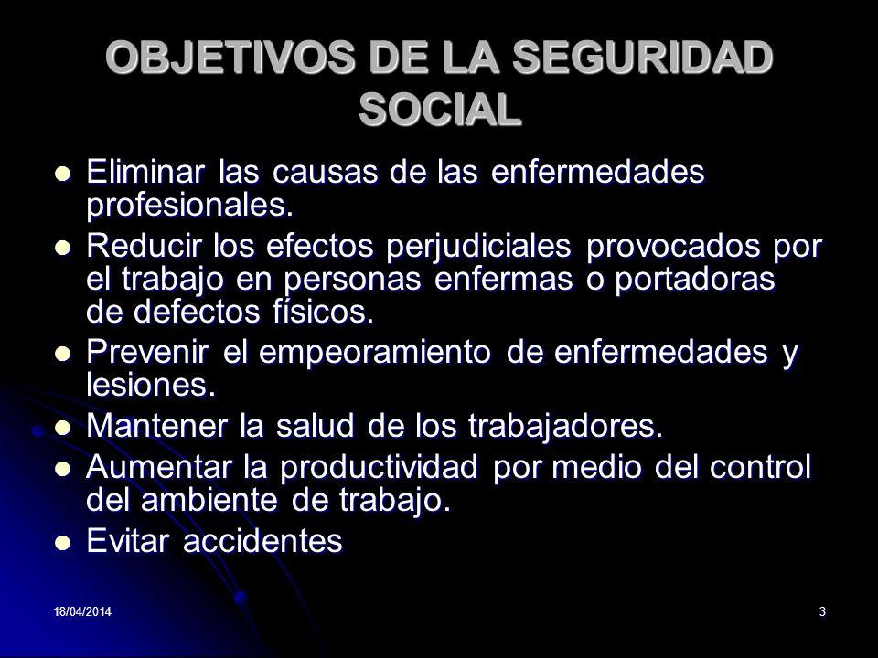 OBJETIVOS DE LA SEGURIDAD SOCIAL