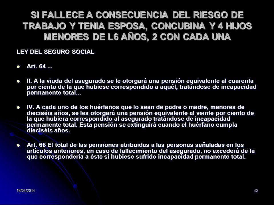 SI FALLECE A CONSECUENCIA DEL RIESGO DE TRABAJO Y TENIA ESPOSA, CONCUBINA Y 4 HIJOS MENORES DE L6 AÑOS, 2 CON CADA UNA