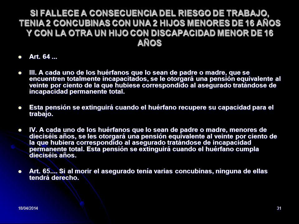 SI FALLECE A CONSECUENCIA DEL RIESGO DE TRABAJO, TENIA 2 CONCUBINAS CON UNA 2 HIJOS MENORES DE 16 AÑOS Y CON LA OTRA UN HIJO CON DISCAPACIDAD MENOR DE 16 AÑOS
