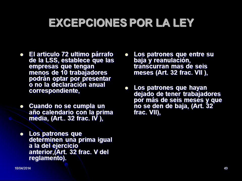EXCEPCIONES POR LA LEY