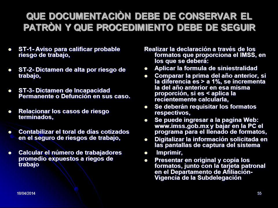 QUE DOCUMENTACIÒN DEBE DE CONSERVAR EL PATRÒN Y QUE PROCEDIMIENTO DEBE DE SEGUIR