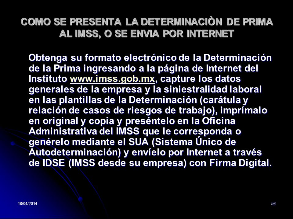 COMO SE PRESENTA LA DETERMINACIÒN DE PRIMA AL IMSS, O SE ENVIA POR INTERNET