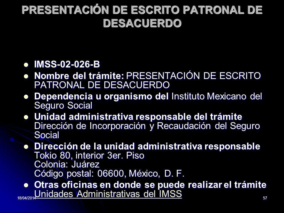 PRESENTACIÓN DE ESCRITO PATRONAL DE DESACUERDO