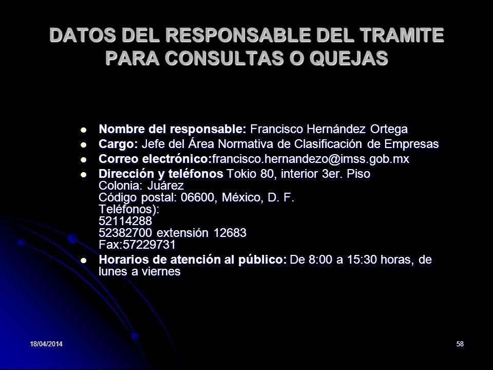 DATOS DEL RESPONSABLE DEL TRAMITE PARA CONSULTAS O QUEJAS
