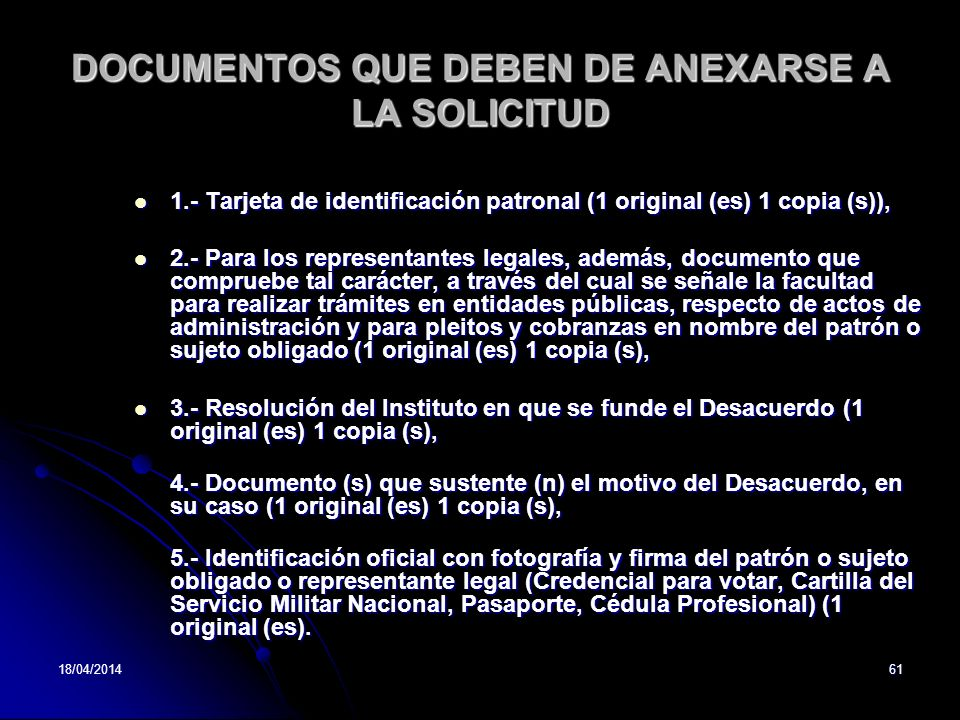 DOCUMENTOS QUE DEBEN DE ANEXARSE A LA SOLICITUD