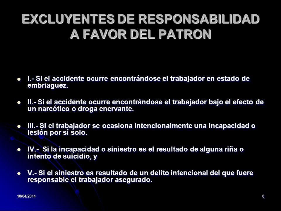 EXCLUYENTES DE RESPONSABILIDAD A FAVOR DEL PATRON
