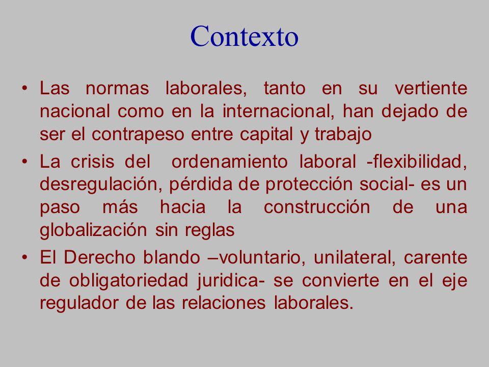 Contexto Las normas laborales, tanto en su vertiente nacional como en la internacional, han dejado de ser el contrapeso entre capital y trabajo.