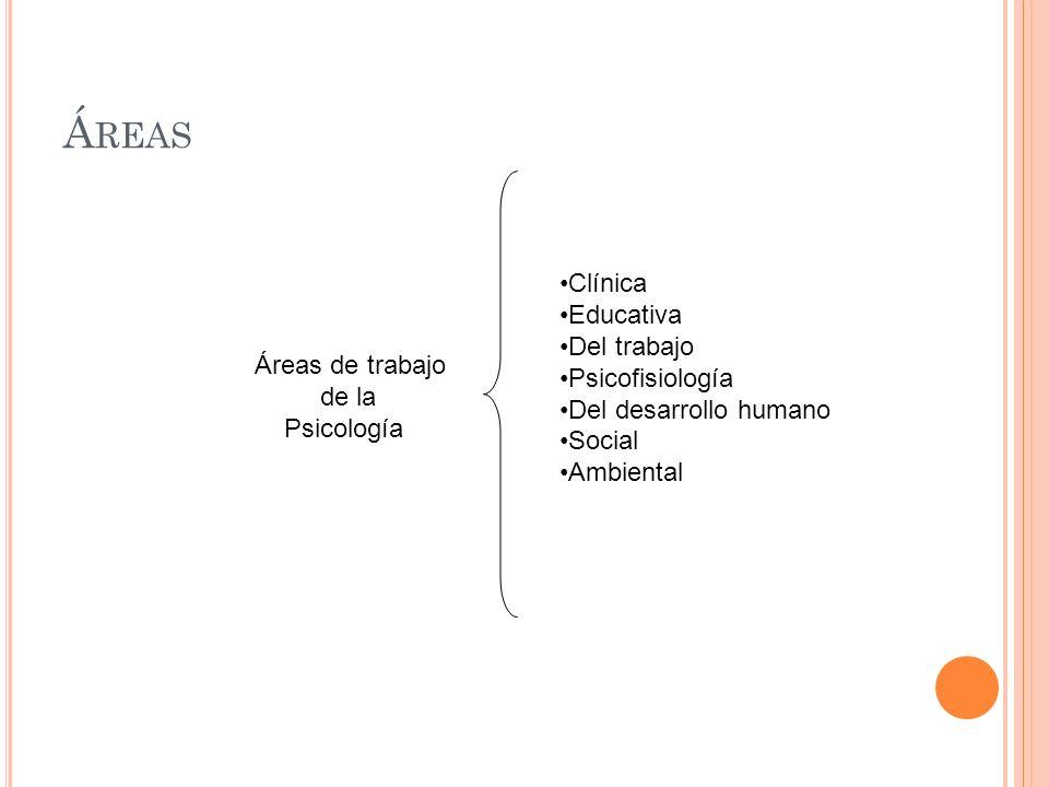 Áreas Clínica Educativa Del trabajo Psicofisiología