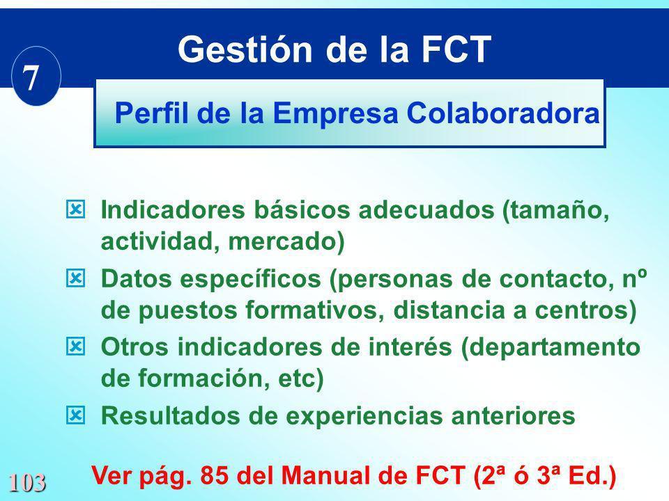 Gestión de la FCT 7 Perfil de la Empresa Colaboradora
