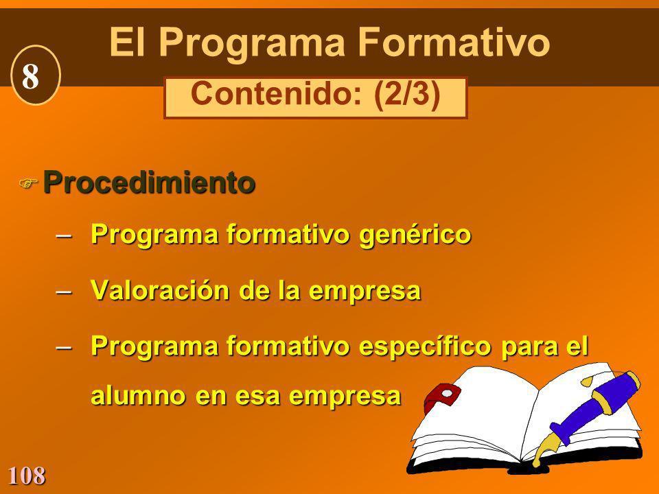 El Programa Formativo 8 Contenido: (2/3) Procedimiento