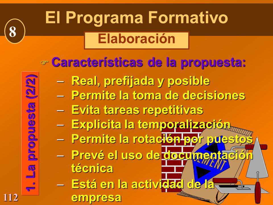 El Programa Formativo 8 Elaboración Características de la propuesta: