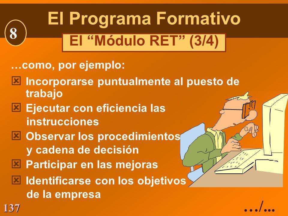 El Programa Formativo 8 …/... El Módulo RET (3/4)