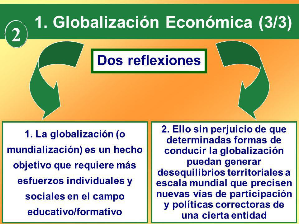 2 1. Globalización Económica (3/3) Dos reflexiones