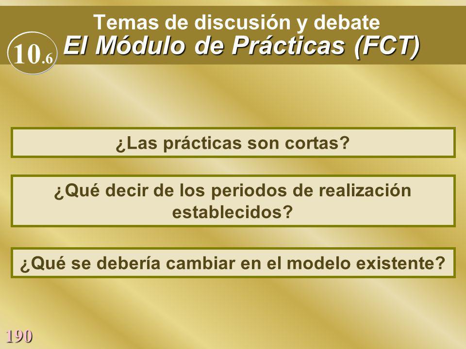Temas de discusión y debate El Módulo de Prácticas (FCT)