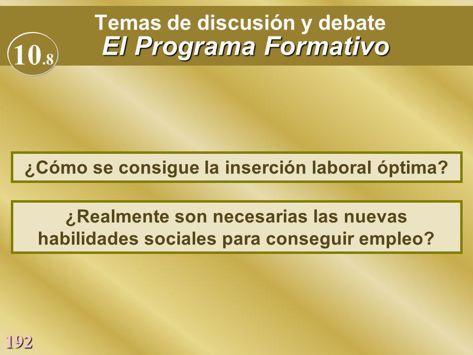 Temas de discusión y debate El Programa Formativo