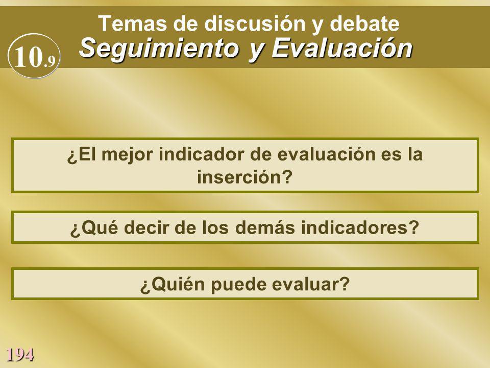 Temas de discusión y debate Seguimiento y Evaluación