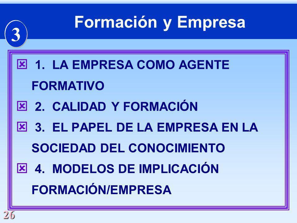 3 Formación y Empresa 1. LA EMPRESA COMO AGENTE FORMATIVO