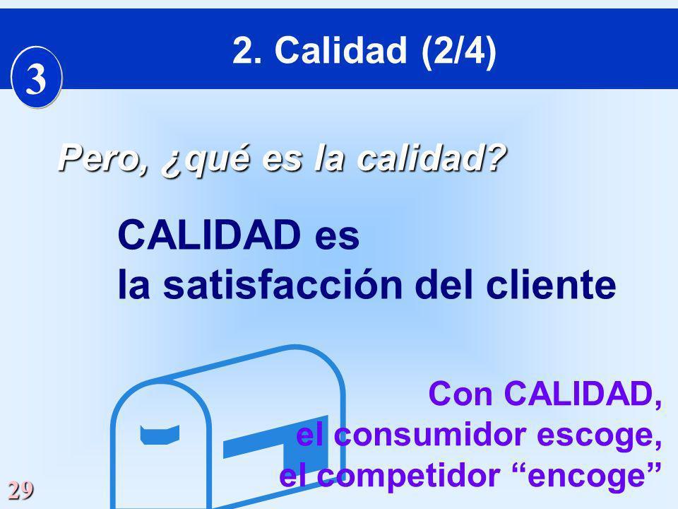  3 CALIDAD es la satisfacción del cliente 2. Calidad (2/4)