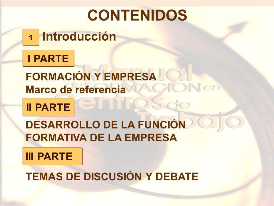CONTENIDOS Introducción I PARTE FORMACIÓN Y EMPRESA
