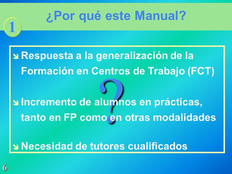 ¿Por qué este Manual 1. Respuesta a la generalización de la Formación en Centros de Trabajo (FCT)