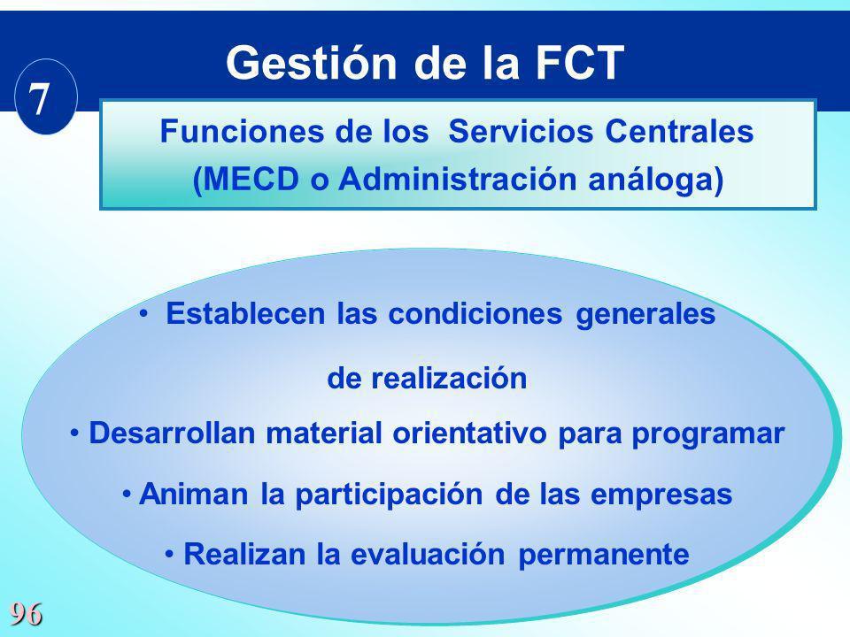 Gestión de la FCT 7 Funciones de los Servicios Centrales