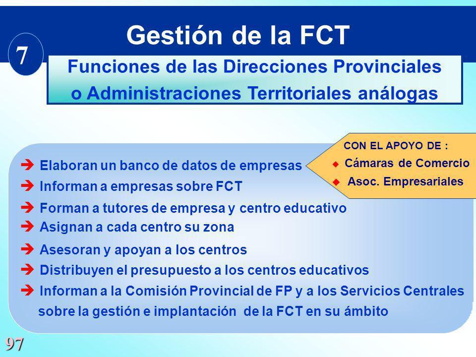 Gestión de la FCT 7 Funciones de las Direcciones Provinciales