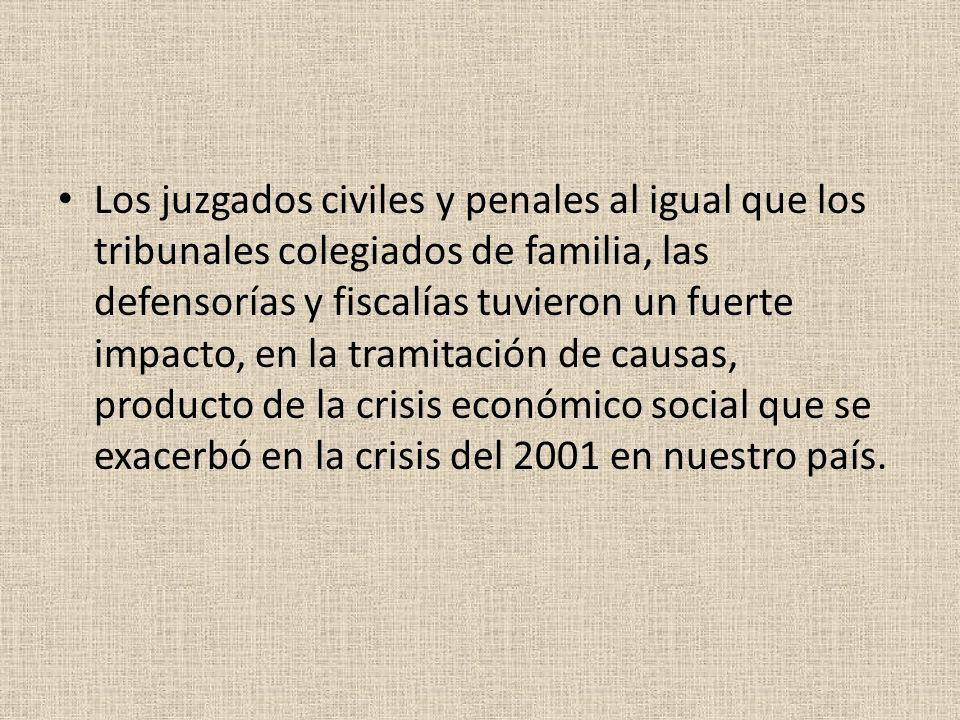 Los juzgados civiles y penales al igual que los tribunales colegiados de familia, las defensorías y fiscalías tuvieron un fuerte impacto, en la tramitación de causas, producto de la crisis económico social que se exacerbó en la crisis del 2001 en nuestro país.