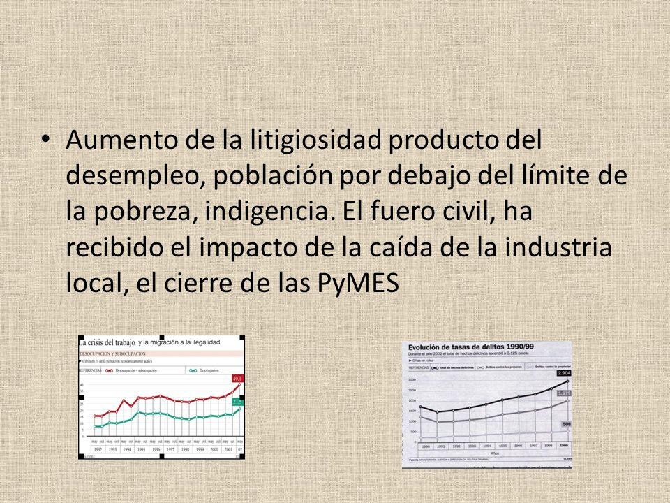 Aumento de la litigiosidad producto del desempleo, población por debajo del límite de la pobreza, indigencia.