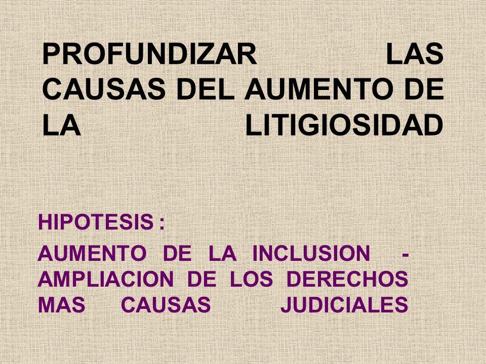 PROFUNDIZAR LAS CAUSAS DEL AUMENTO DE LA LITIGIOSIDAD